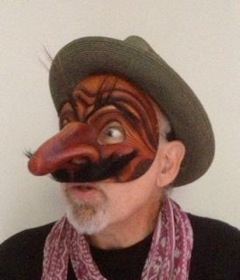 Newman in handmade leather Commedia mask Capitano